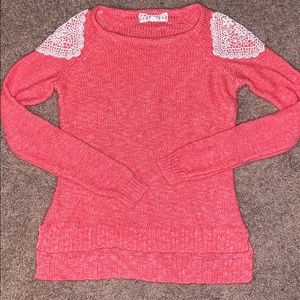 Pink republic  coral with shoulder accent sweater